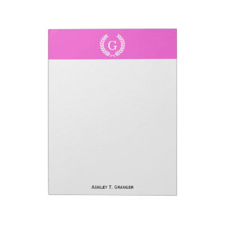 Hot Pink Wht Wheat Laurel Wreath Initial Monogram Notepad