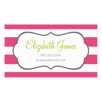 Hot Pink Wide Stripe Business Card Template