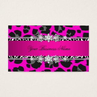 Hot Pink Wild Animal Black Jewel Look Image Business Card