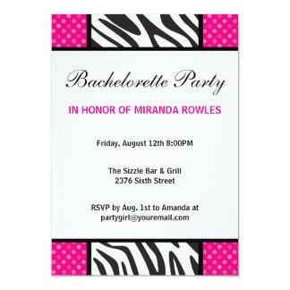 Hot Pink Wild Zebra Bachelorette Party Card