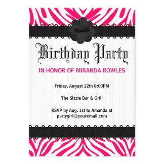 Hot Pink Wild Zebra Birthday Party Invitations