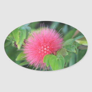 Hot Pink Wildflower Themed Oval Stickers, Glossy Oval Sticker