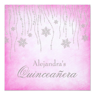 Hot Pink Winter Wonderland Snowflakes Quinceanera 5.25x5.25 Square Paper Invitation Card