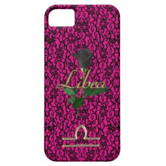 Hot Pink with Black Lace and Rose Libra Case iPhone 5 Cases