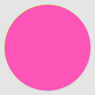 Hot Pink with Lime Green Border Classic Round Sticker