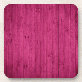 Hot Pink Wood Texture Drink Coaster