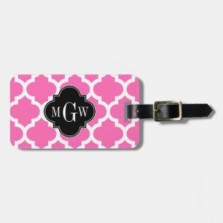 Hot Pink Wt Moroccan #5 Black 3 Initial Monogram Bag Tag