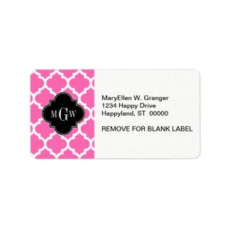 Hot Pink Wt Moroccan #5 Black 3 Initial Monogram Label