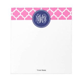 Hot Pink Wt Moroccan #5 Navy 3 Init Vine Monogram Note Pad