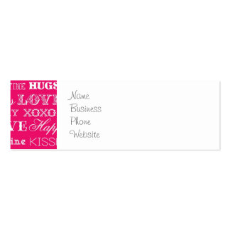 Hot Pink XOXO Love Be Mine Happy Valentine's Day Double-Sided Mini Business Cards (Pack Of 20)
