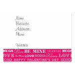 Hot Pink XOXO Love Be Mine Happy Valentine's Day Large Business Cards (Pack Of 100)