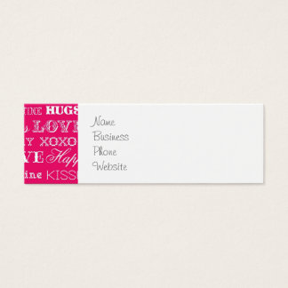 Hot Pink XOXO Love Be Mine Happy Valentine's Day Mini Business Card