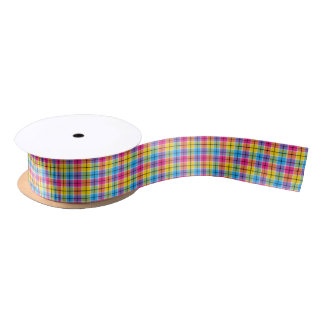 Hot Pink, Yellow and Blue Plaid Satin Ribbon