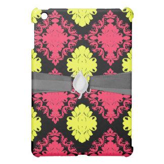 hot pink yellow black diamond damask iPad mini case