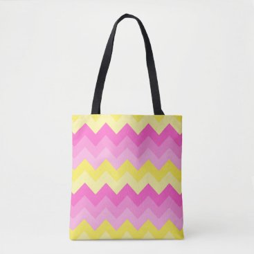 Beach Themed Hot Pink Yellow Chevron Ombre Pattern Print Tote Bag