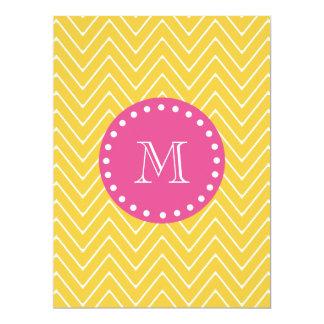 Hot Pink, Yellow Chevron   Your Monogram 6.5x8.75 Paper Invitation Card