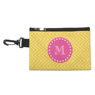 Hot Pink, Yellow Chevron | Your Monogram Accessory Bag