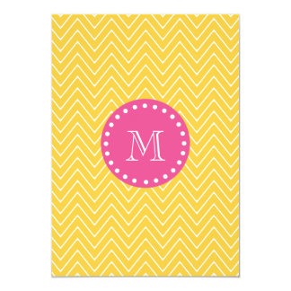 Hot Pink, Yellow Chevron   Your Monogram Card
