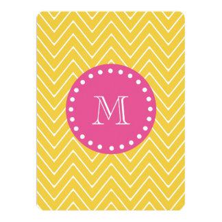 Hot Pink, Yellow Chevron | Your Monogram Card