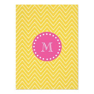 Hot Pink, Yellow Chevron | Your Monogram 5.5x7.5 Paper Invitation Card