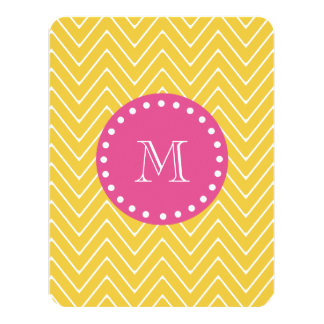 Hot Pink, Yellow Chevron | Your Monogram 4.25x5.5 Paper Invitation Card