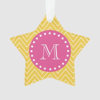Hot Pink, Yellow Chevron | Your Monogram Ornament