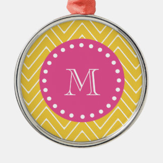 Hot Pink, Yellow Chevron | Your Monogram Ornaments