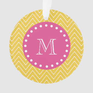 Hot Pink, Yellow Chevron | Your Monogram Ornament