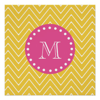 Hot Pink, Yellow Chevron | Your Monogram Perfect Poster