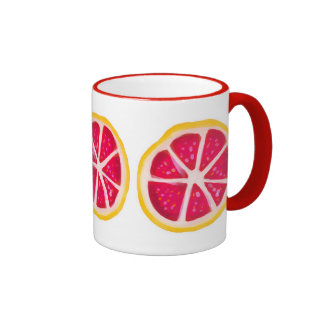 Hot Pink Yellow Citrus Grapefruit Slice Ringer Mug