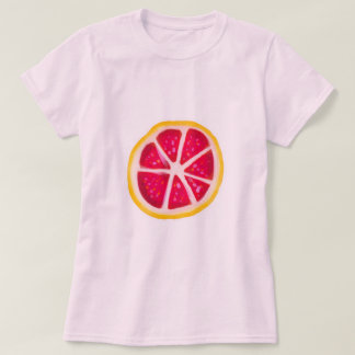 Hot Pink Yellow Citrus Grapefruit Slice T-Shirt