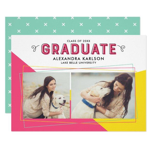 Hot Pink & Yellow Geometric Frame Photo Graduation Card