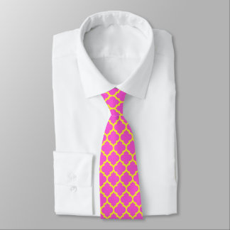 Hot Pink, Yellow Moroccan Quatrefoil Pattern #5 Neck Tie