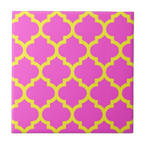 Hot Pink Yellow Moroccan Quatrefoil Pattern #5 Tile