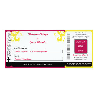 Hot Pink/Yellow S Boarding Pass Wedding Invitation