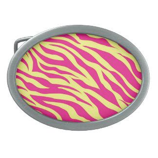 Hot Pink Yellow Wild Animal Print Zebra Stripes Oval Belt Buckle