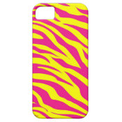 Hot Pink Yellow Wild Animal Print Zebra Stripes iPhone 5 Covers