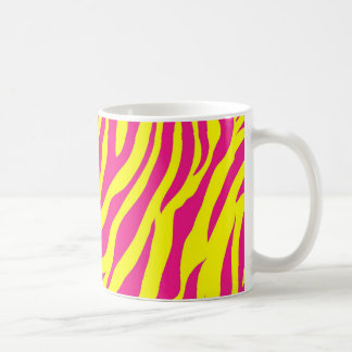 Hot Pink Yellow Wild Animal Print Zebra Stripes Coffee Mug