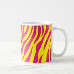 Hot Pink Yellow Wild Animal Print Zebra Stripes Mugs
