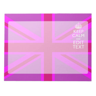 Hot Pink Your Keep Calm Edit Text Union Jack Notepad