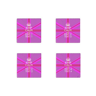 Hot Pink Your Keep Calm Edit Text Union Jack Stone Magnet