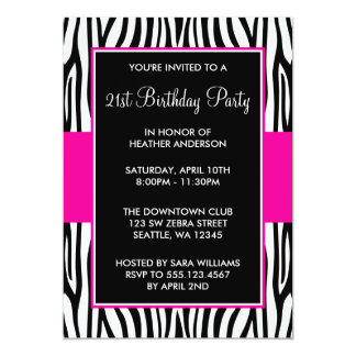 Hot Pink Zebra 21st Birthday Party Card