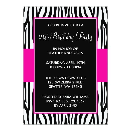 Hot Pink Zebra 21st Birthday Party 5x7 Paper Invitation Card