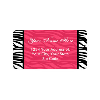 Hot Pink Zebra Address Labels