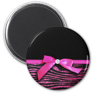 Hot pink zebra and ribbon bow graphic 2 inch round magnet