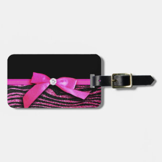 Hot pink zebra and ribbon bow graphic bag tag