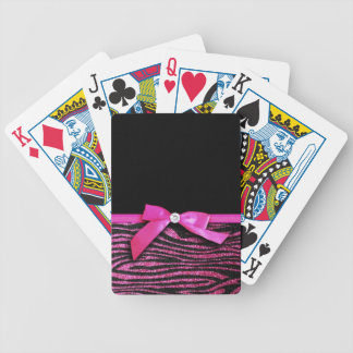 Hot pink zebra and ribbon bow graphic bicycle playing cards