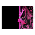 Hot pink zebra and ribbon bow graphic cards