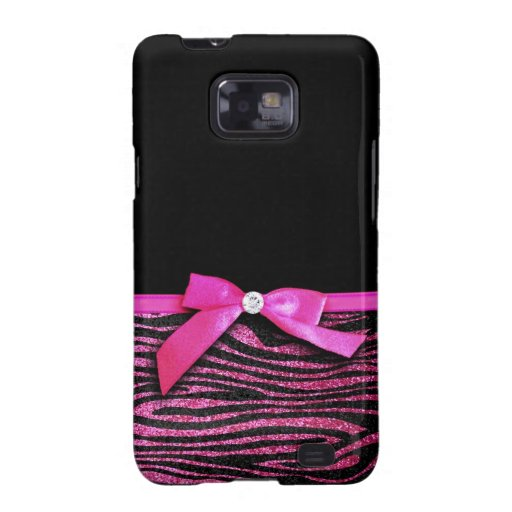 Hot pink zebra and ribbon bow graphic samsung galaxy s2 case