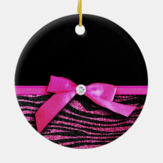 Hot pink zebra and ribbon bow graphic ceramic ornament